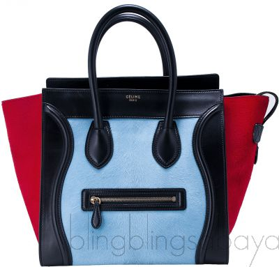 Tricolor Teal & Red Mini Luggage