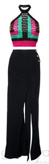 Flared Pants & Multicolor Crop Top