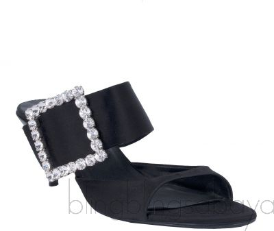 Black Nylon Crystal Sandals