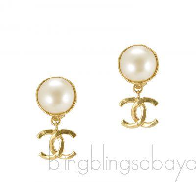 Faux Pearl CC Earrings