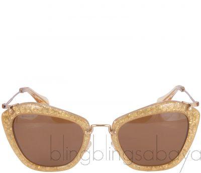 Gold Acetate Glitter Sunglasses