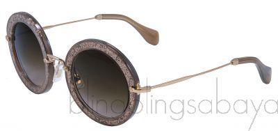 Tobacco Noir Glitter Round Sunglasses