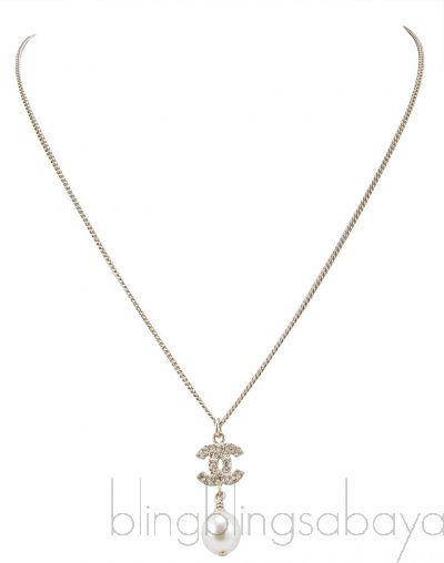 CC Crystal Logo & Pearl Necklace