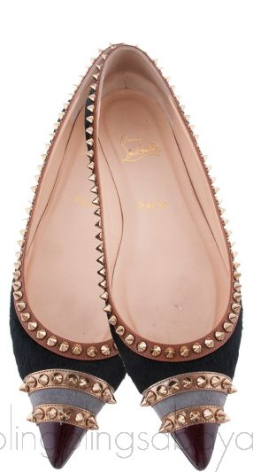 Black Calf Hair Spiked Pointed Toe Flats
