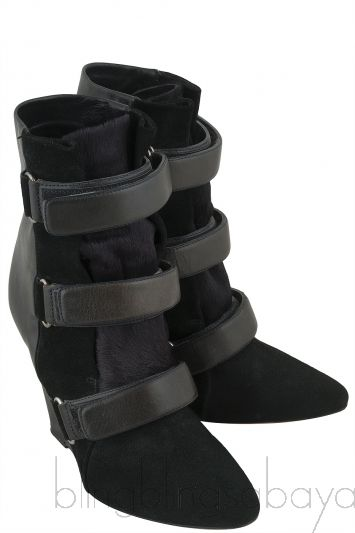 Scarlet Black Leather Wedge Boots