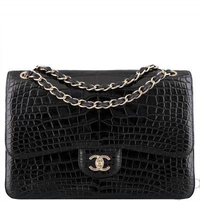 Black Crocodile Jumbo Flap Bag