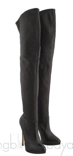High Leg Black Leather Boots