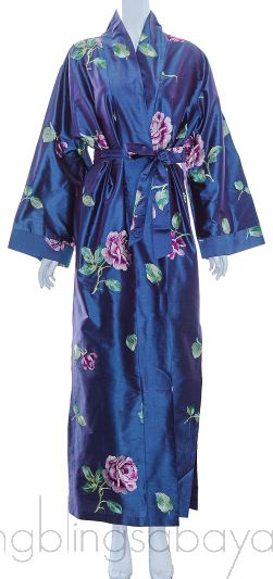 Blue Floral Embroidered Robe