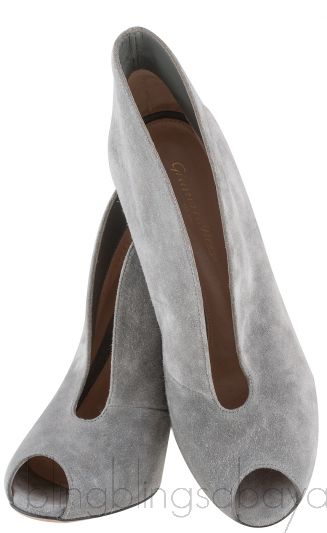 Grey Suede Ankle-Flare Boots