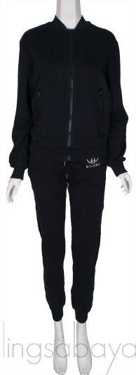 Black Crystal Embellished Jacket & Jogger