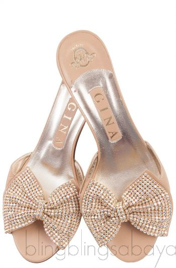 Nude Leather Bow Crystal Sandals