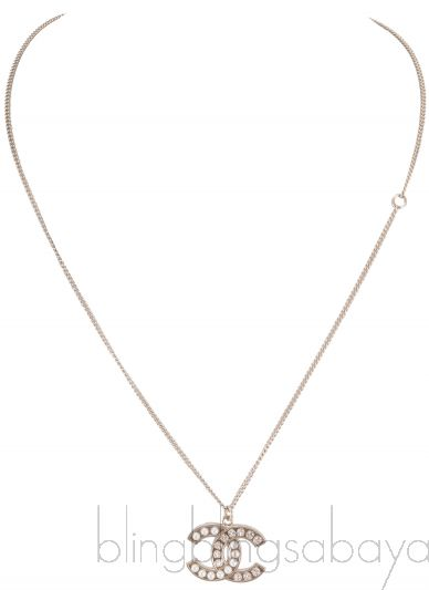 Crystal Pearl CC Pendant Necklace