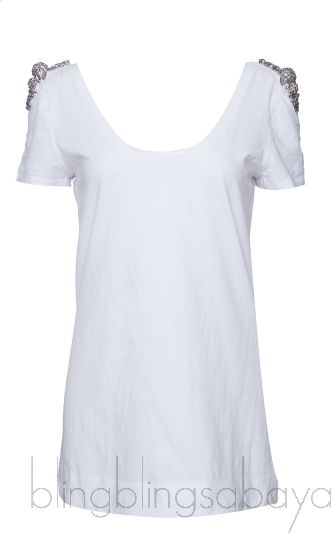 Crystal Emb. White T-shirt