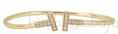 T Wire Gold Diamond Bracelet