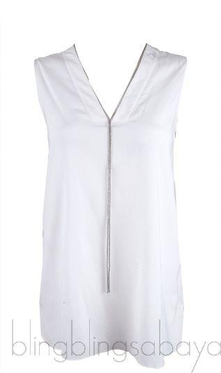 White V-neck Chain Blouse
