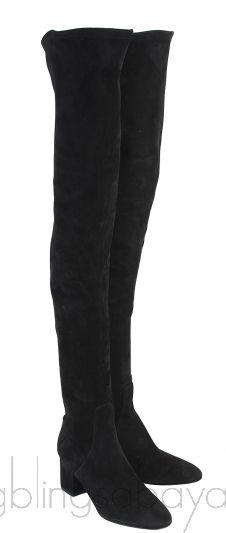 Black Suede High Leg Boots
