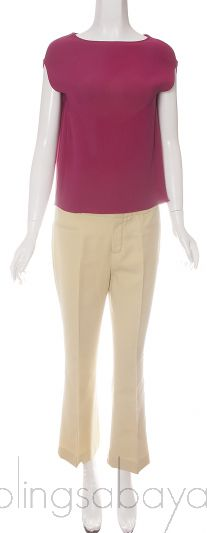 Fuchsia Silk Top & Yellow Trouser