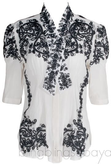 Silk Floral Embroidered Top