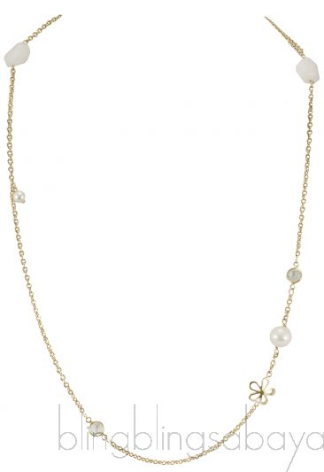 Flower Pearl Long Necklace