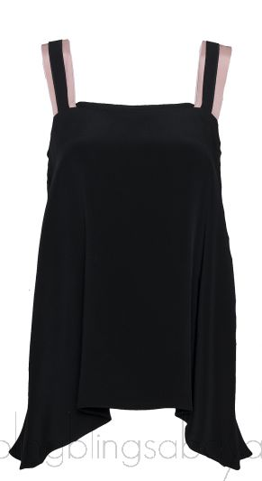 Contrasting Strap Flared Top