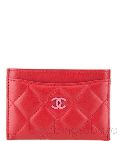 Red & Pink Quilted Cardholder