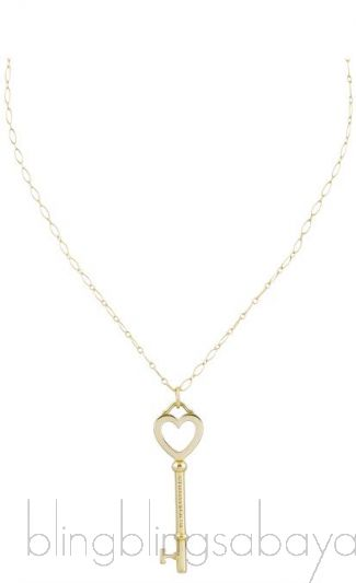 Heart Yellow Gold Key Pendant Necklace