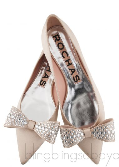 Nude Pointed Toe Bow Flat