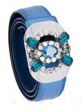 Blue Saffiano Jeweled Buckle Belt