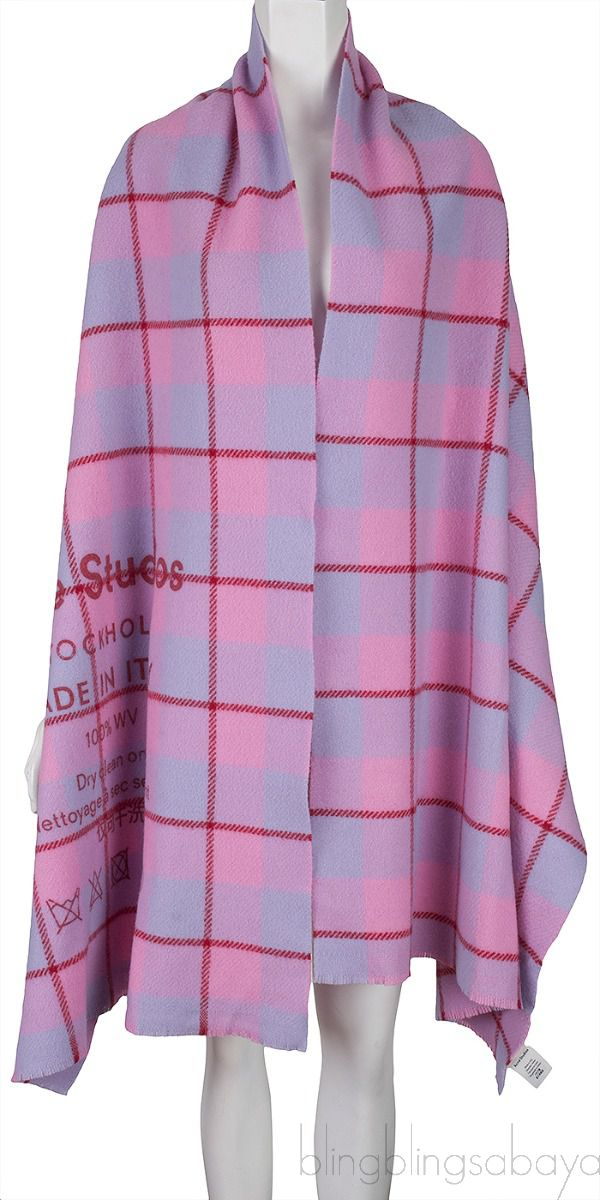 Pink Checkered Wool Scarf